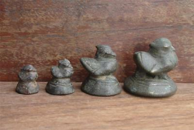 A Set Of 4 Antique Bronze Opium Weight, Sleeping Duck(Mon Duck)