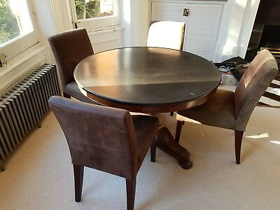 Antique French dining table with polished black slate top