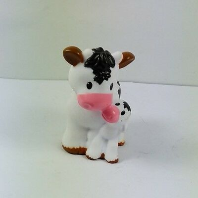 Fisher Price Little People Farmer Jed Caring For Animals Mom Cow Calf baby cute