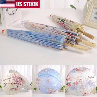Chinese Art Deco Painted Parasol Wedding Party Oil Paper Umbrella Photo Props
