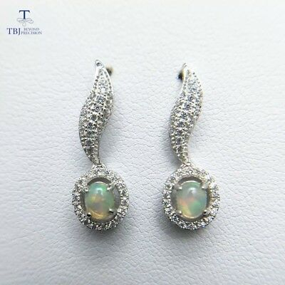925 sterling silver earrings natural stones 4 *5 mm Oval Cabochon Ethiopian Opal
