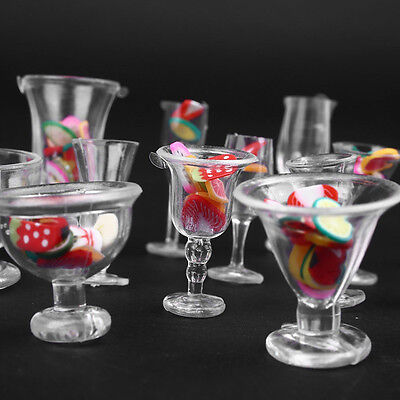 Mini 17pcs/Set Transparent Drink Cups Dish Plate Tableware Miniatures w