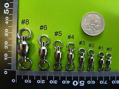 SELECT - DFS BALL BEARING FISHING SWIVELS, sizes 0,1,2,3,4,5,6,8 BLACK NICKEL