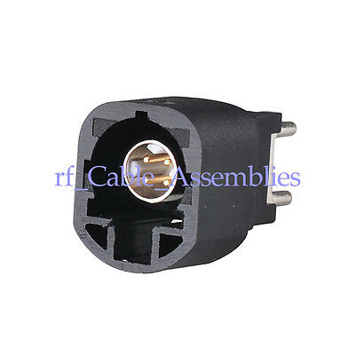 """High Speed Data (HSD) Connector Fakra """"A"""" Male plug PCB mount RF Connector Black"""