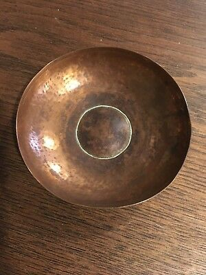 Arts & Crafts Vintage Copper Hammered Pin Tray Hand Made RYE