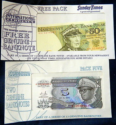 Sunday Times International Currency Collection German 50 Zloty & Zaire 5NK UNC P