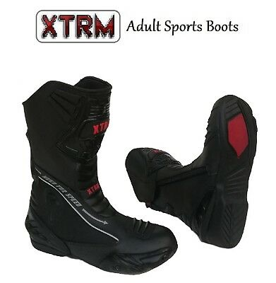Black, EU 42// UK 8 XTRM EVO Adult Motorcycle SEMI Sports Boots Men Women Motorbike Scooter Biker Rider Sport Touring On Road Armour Leather Boots Black