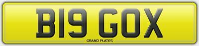 Big Reg B19 Gox Number Plate Initials Registration Assigned Free No Fees Rare Go