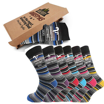 Personalised Mens Grandad Xmas Merry Christmas  Socks Gift Box Sizes 6-11