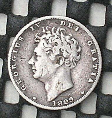 1829 King George 1V British Silver Sixpence Coin