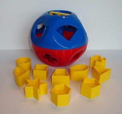 Tupperware Shape O Toy Classic Blue & Red Ball Yellow Shapes Learning Toy NEW