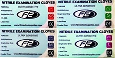 200 F2 Medical Nitrile Surgical Examination Gloves Available in XS. S. M. L.