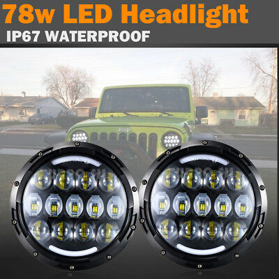 "2pcs 7""Inch Round 78W Osram LED Projector Hi/Low Headlights DRL For Hummer H1 H2"