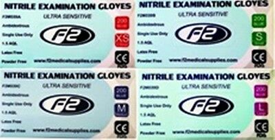 200 F2 Medical Nitrile Examination Gloves Available in XS. S. M. L.