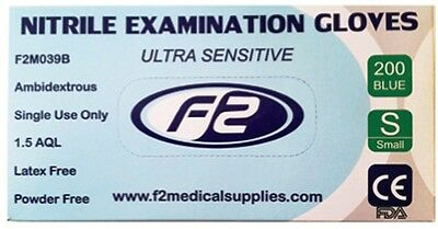 200 F2 Medical Nitrile Disposable Examination Gloves Small. Vets