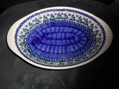 NEW Boleslawiec Polish Pottery OVAL SERVING BOWL- Christmas Tree Design
