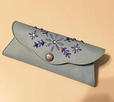 Vintage Ladies Eye Glass Case Blue Vinyl Floral Design Metal Studs & Rhinestones