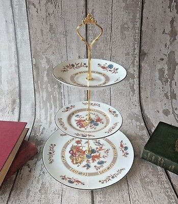 3tier Vintage/Shabby Chic Orange Floral china Cake stand Afternoon Tea/ Wedding