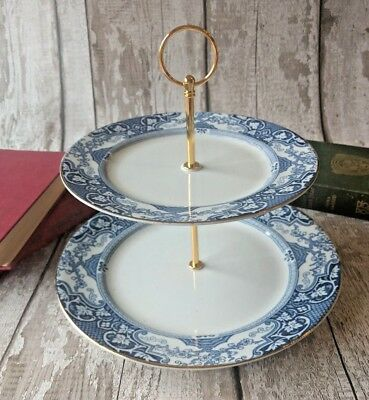 2tier Vintage/Shabby Chic Blue Geometric china Cake stand Afternoon Tea/ Wedding