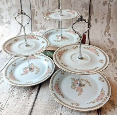 Lot of 3 2tier Small Vintage China Cake/Jewellery stands Afternoon Tea /Wedding