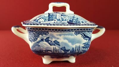 Johnson Bros Old Britain Castles blau Zuckerdose H 7,8 cm
