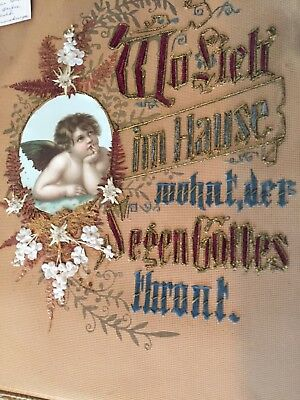 Antique Germany Needlepoint Love Lives God's House Blessing w/ Angel