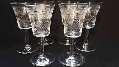 """6x Vintage/Antique Sherry Glasses 4.5"""" Tall - Heavily Etched Pattern. VGC"""