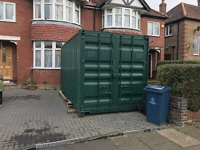 Used GREEN 20x8 20 Foot Steel Storage Shipping Container