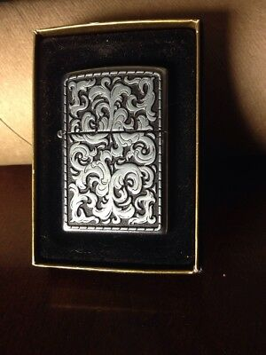 Marlboro Storming Scroll Pewter Silver Zippo Lighter 2003