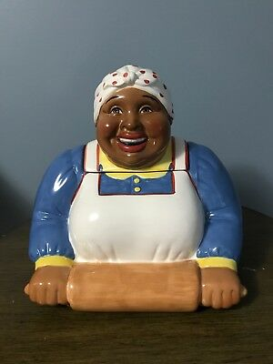 """CLAY ART mammy cookie rolling pin Americana African American cookie jar 11"""""""