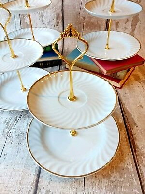 Lot of 4 2 tier Vintage Bone China Cake/Jewellery stands Afternoon Tea /Wedding
