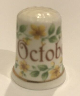 FINSBURY FIND BONE CHINA MONTH October THIMBLE WITH Yellow FLOWERS T-23