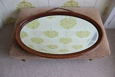Vintage/Antique Bevelled Oval Mirror in wooden frame with original hanging chain