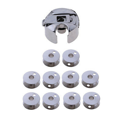 11pcs Silver Bobbin Case + Empty Bobbins Spool for Industrial Sewing Machine