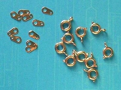 20 gold plated 6mm bolt rings with tags, findings for jewellery making crafts