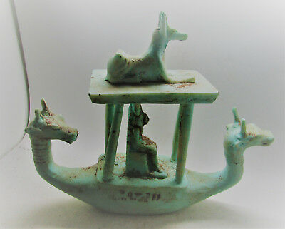 Scarce Ancient Egyptian Faience Sail Boat With Anubis And Horus Seated