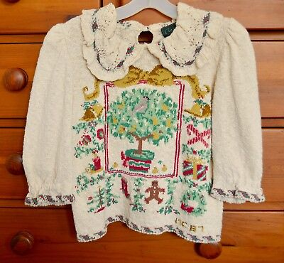 Victorian style Christmas sweater by Cullinane; Patridge in a Pear Tree, vintage
