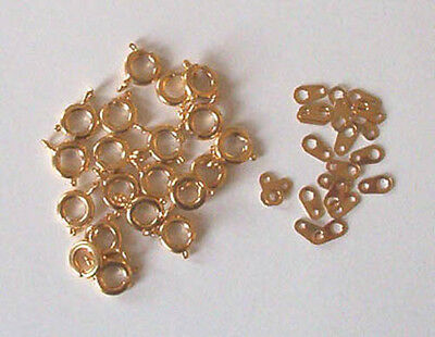 20 gold plated 7mm bolt rings with tags, findings for jewellery making crafts