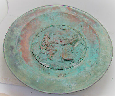 Beautiful Ancient Persian Hand Beaten Copper Dish With Royal Impressions