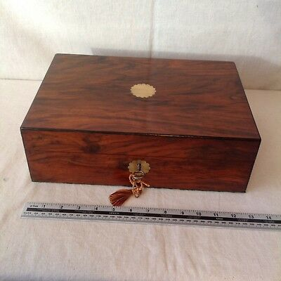 Handsome Large Victorian Collectors/Sewing/Jewellery Box With Tray And Key