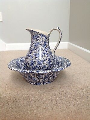 Pottery Jug and Washbowl -cream with small blue flower decoration