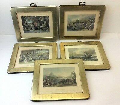 Lot of 5 Antique Old R Staines T Allon London Printed Limited Edition Prints