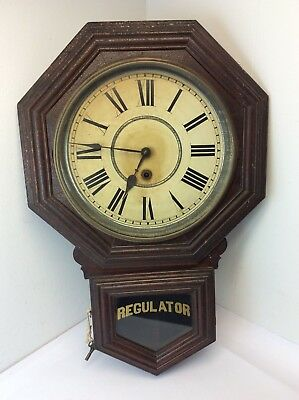 Antique Old Sessions Clock Co Forestville Connecticut Regulator Wall Clock