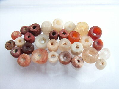 30 Ancient Neolithic Carnelian, Red Jasper, Rock Crystal ..Beads, Stone Age TOP!