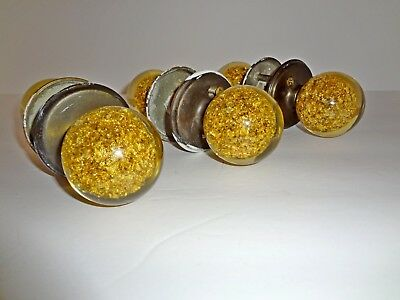 Ruth Richmond Weiser Co. Lucite & Gold Flake Door Knobs Vintage 1960s, Set of 3