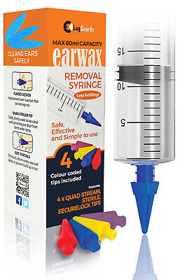 LugGuards Quad Stream Ear Wax Removal Syringe 50ml with 3 Colour Coded Tips UK