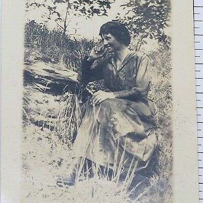 Vintage Photograph 1920s Young Lady Posing in Forest