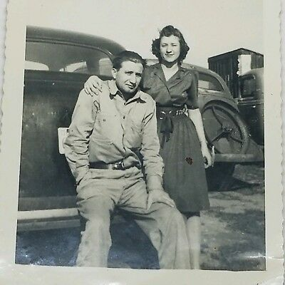 Vintage Photograph 1940s Beautiful Young Woman with Husband and Antique Cars