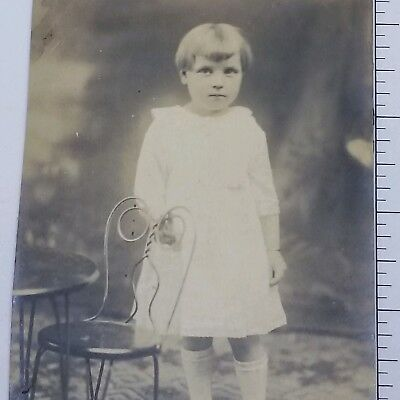 Vintage Photograph 1900s Young Girl Posing Portrait