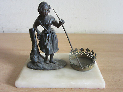 Antique Victorian Cast Metal woman statue holder on marble base